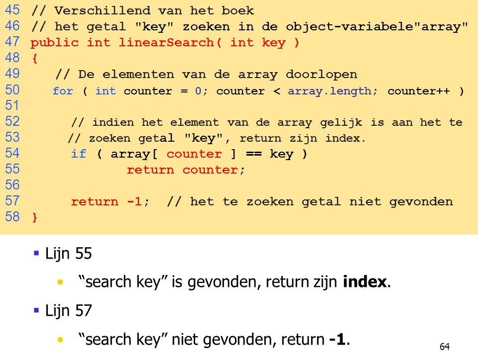 search key is gevonden, return zijn index. Lijn 57