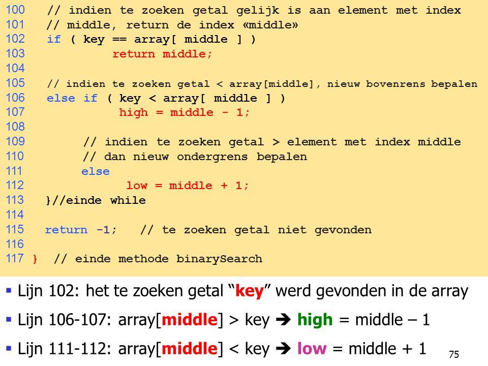 Lijn 102: het te zoeken getal key werd gevonden in de array