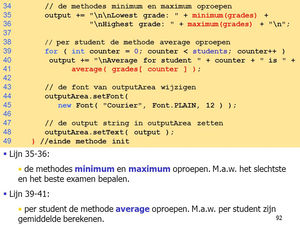 34 // de methodes minimum en maximum oproepen