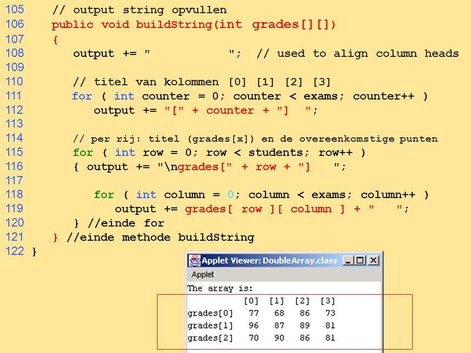 105 // output string opvullen