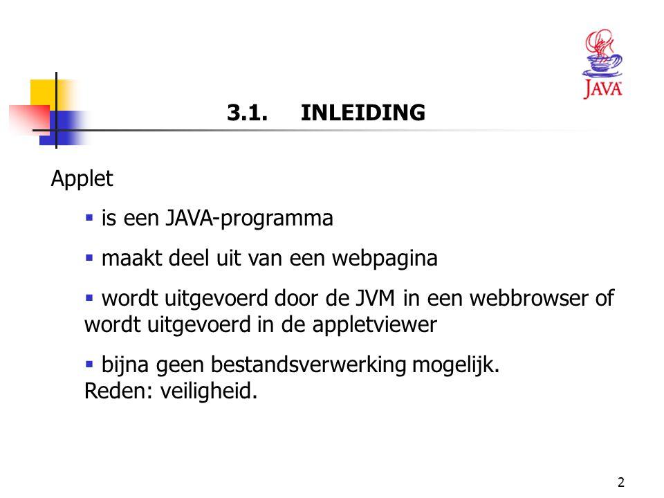 3.1. INLEIDING Applet. is een JAVA-programma. maakt deel uit van een webpagina.