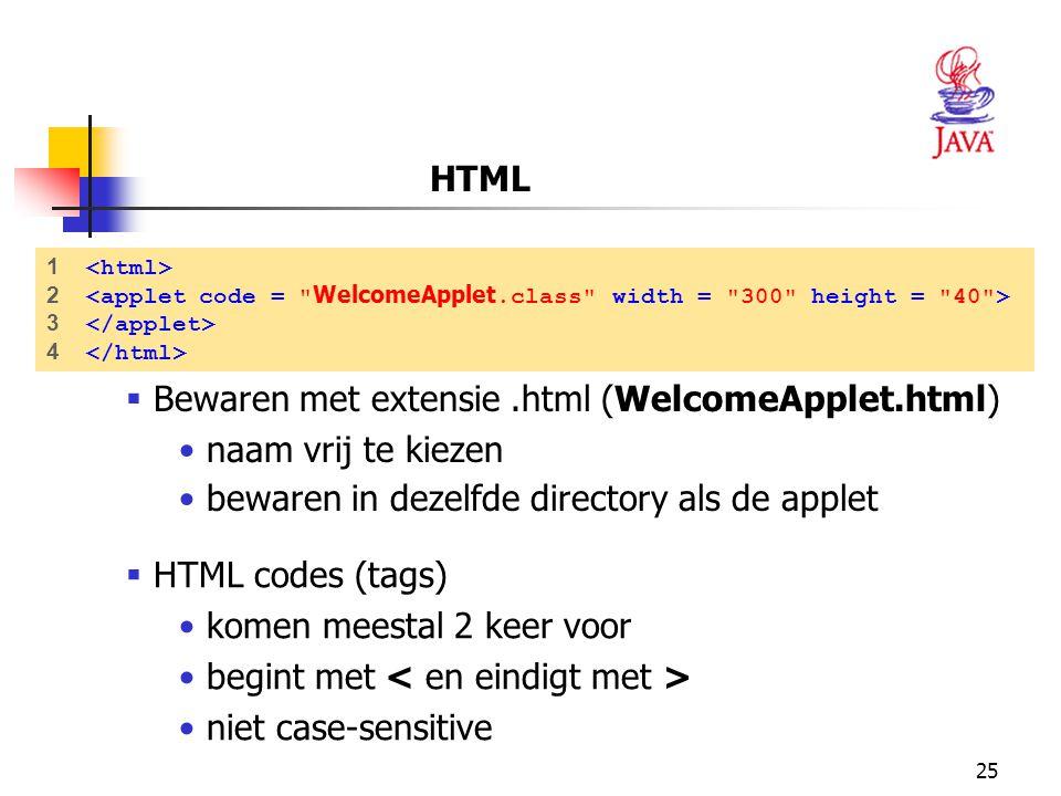 Bewaren met extensie .html (WelcomeApplet.html) naam vrij te kiezen