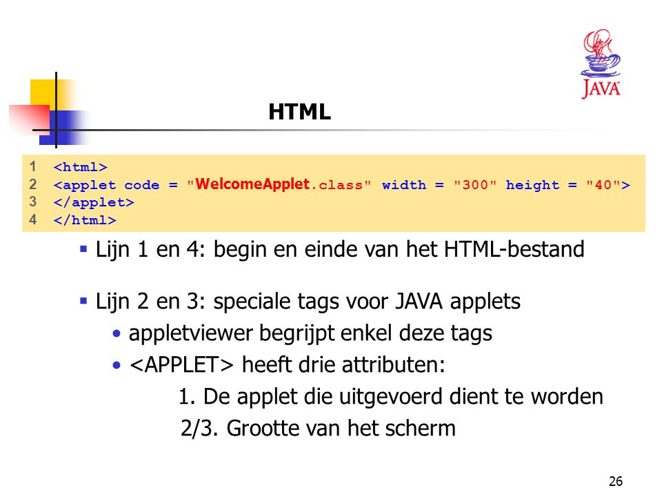 Lijn 1 en 4: begin en einde van het HTML-bestand