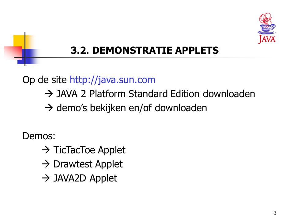 3.2. DEMONSTRATIE APPLETS Op de site http://java.sun.com.  JAVA 2 Platform Standard Edition downloaden.