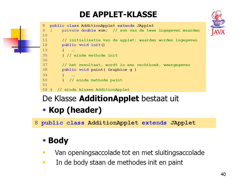 De Klasse AdditionApplet bestaat uit Kop (header)