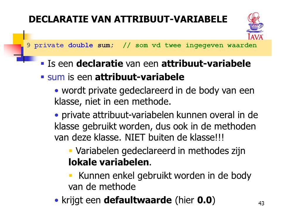 DECLARATIE VAN ATTRIBUUT-VARIABELE