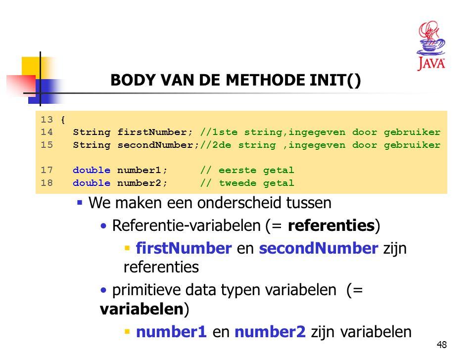 BODY VAN DE METHODE INIT()