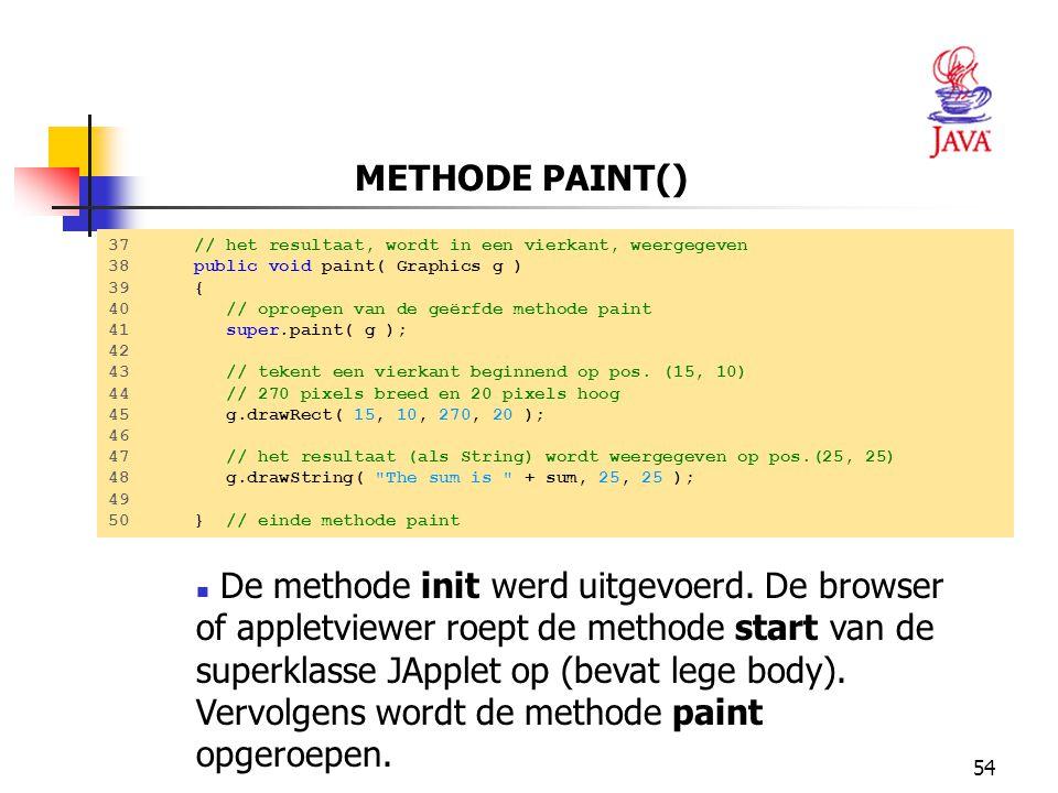 METHODE PAINT() 37 // het resultaat, wordt in een vierkant, weergegeven. 38 public void paint( Graphics g )