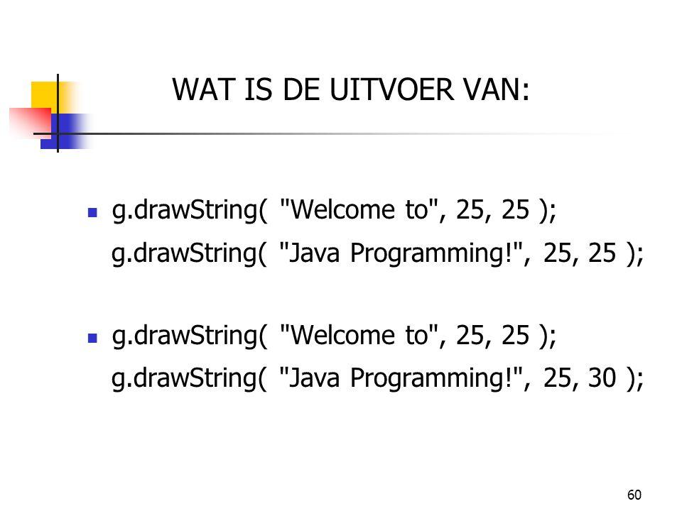 WAT IS DE UITVOER VAN: g.drawString( Welcome to , 25, 25 );