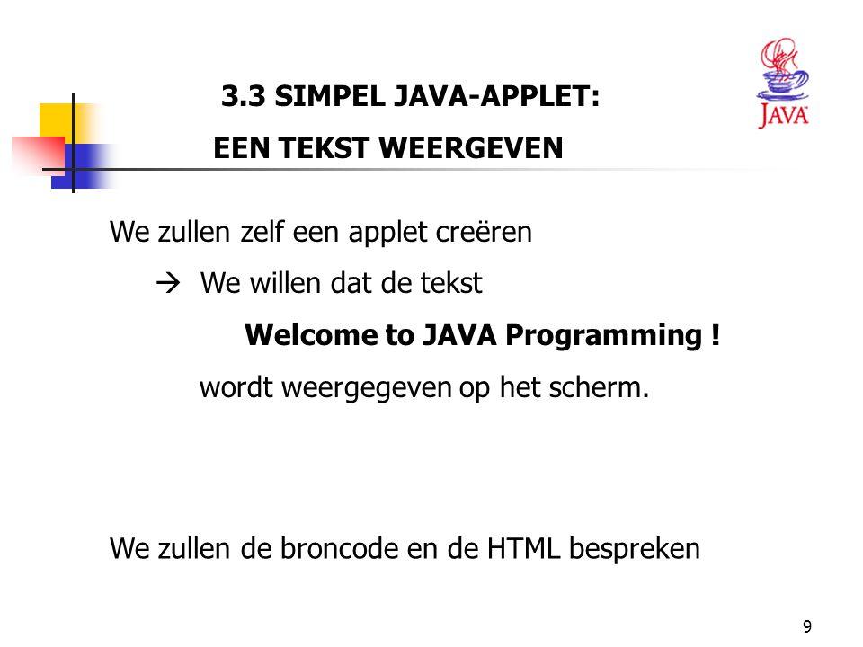 3.3 SIMPEL JAVA-APPLET: EEN TEKST WEERGEVEN. We zullen zelf een applet creëren.  We willen dat de tekst.