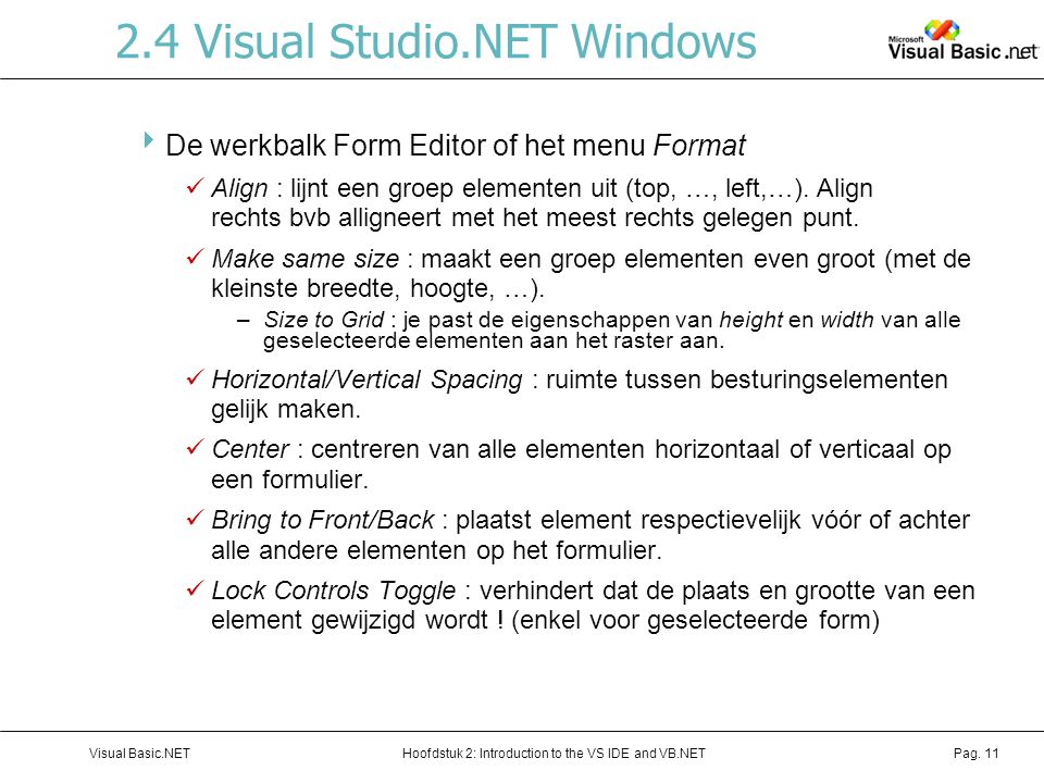2.4 Visual Studio.NET Windows