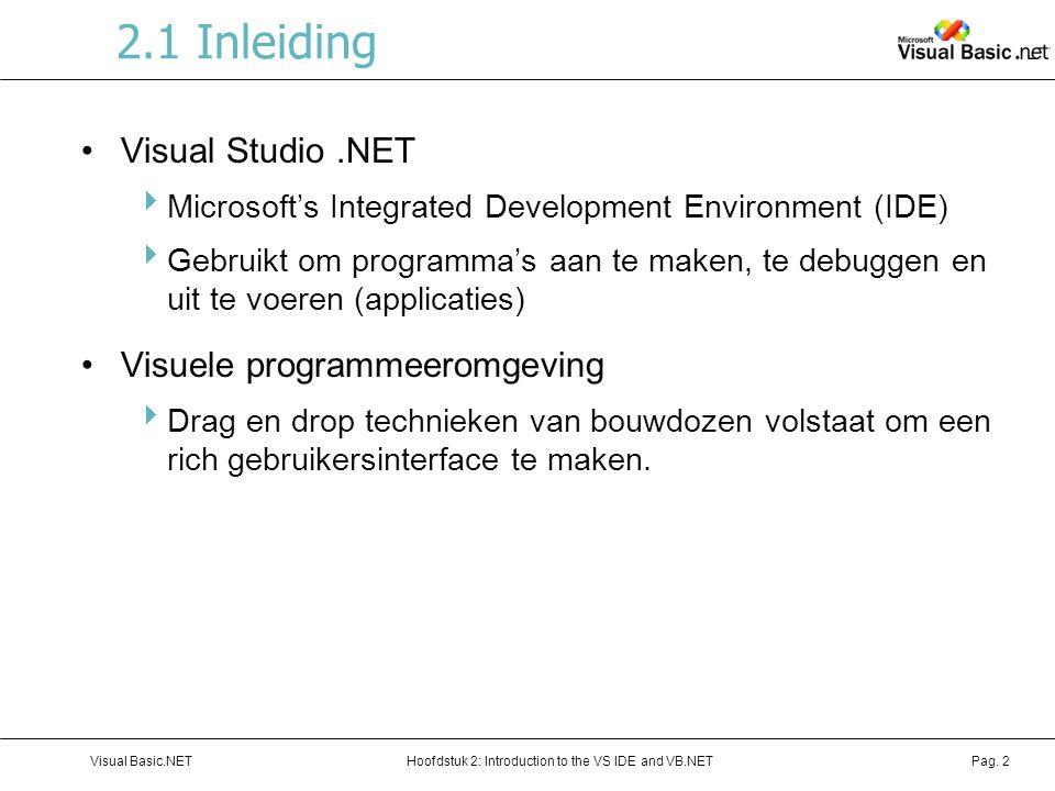 2.1 Inleiding Visual Studio .NET Visuele programmeeromgeving
