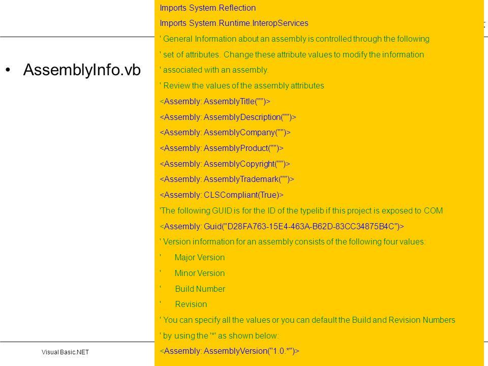 AssemblyInfo.vb Imports System.Reflection