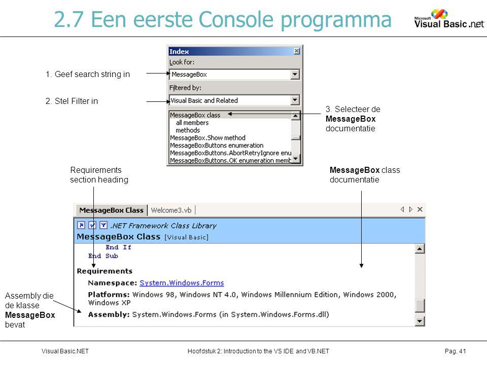 2.7 Een eerste Console programma