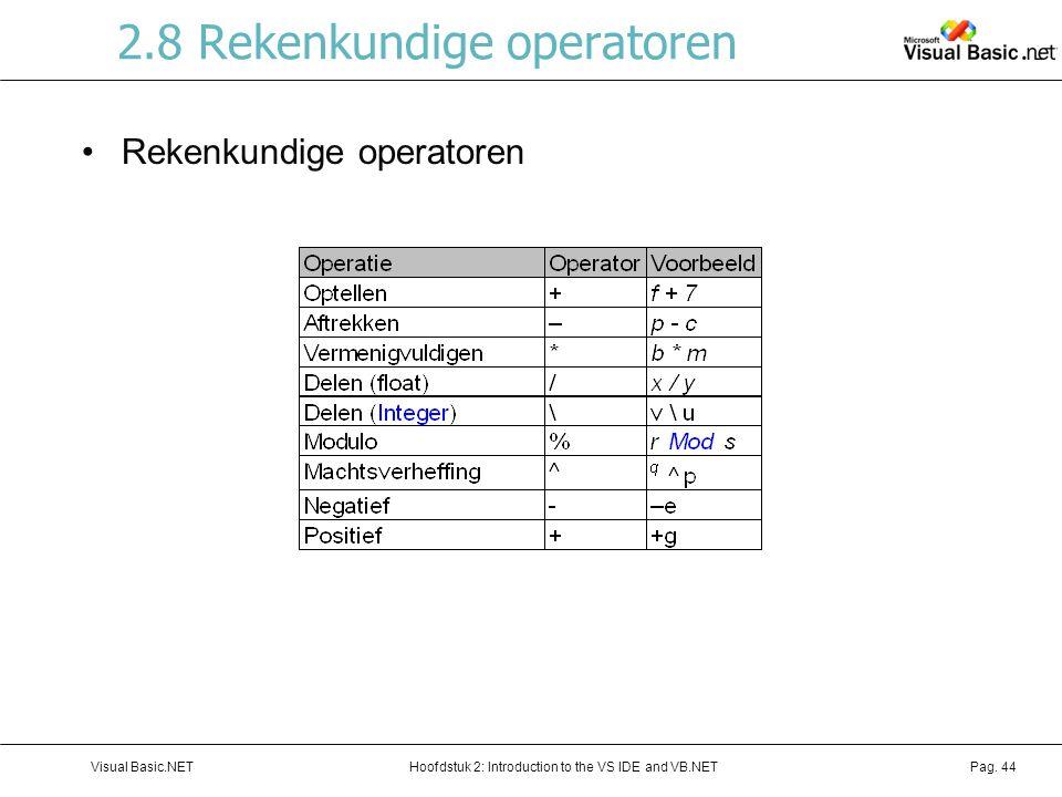 2.8 Rekenkundige operatoren