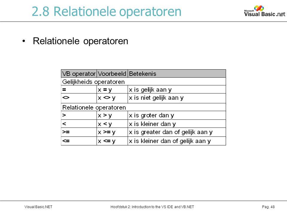 2.8 Relationele operatoren