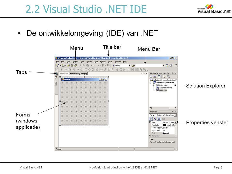 2.2 Visual Studio .NET IDE De ontwikkelomgeving (IDE) van .NET