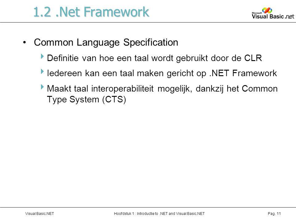 1.2 .Net Framework Common Language Specification
