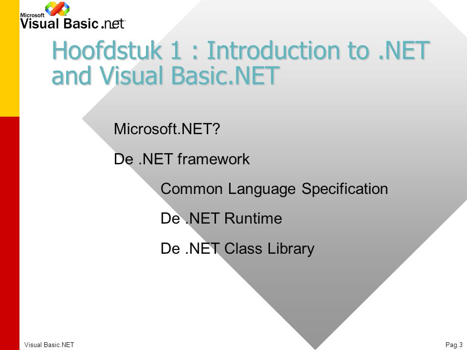 Hoofdstuk 1 : Introduction to .NET and Visual Basic.NET