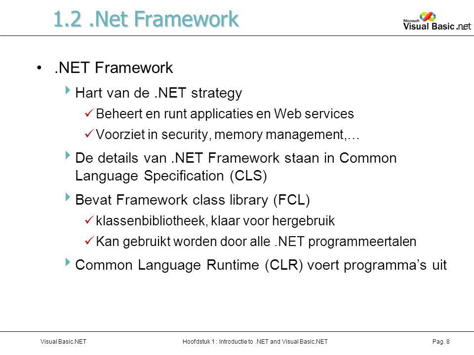 1.2 .Net Framework .NET Framework Hart van de .NET strategy