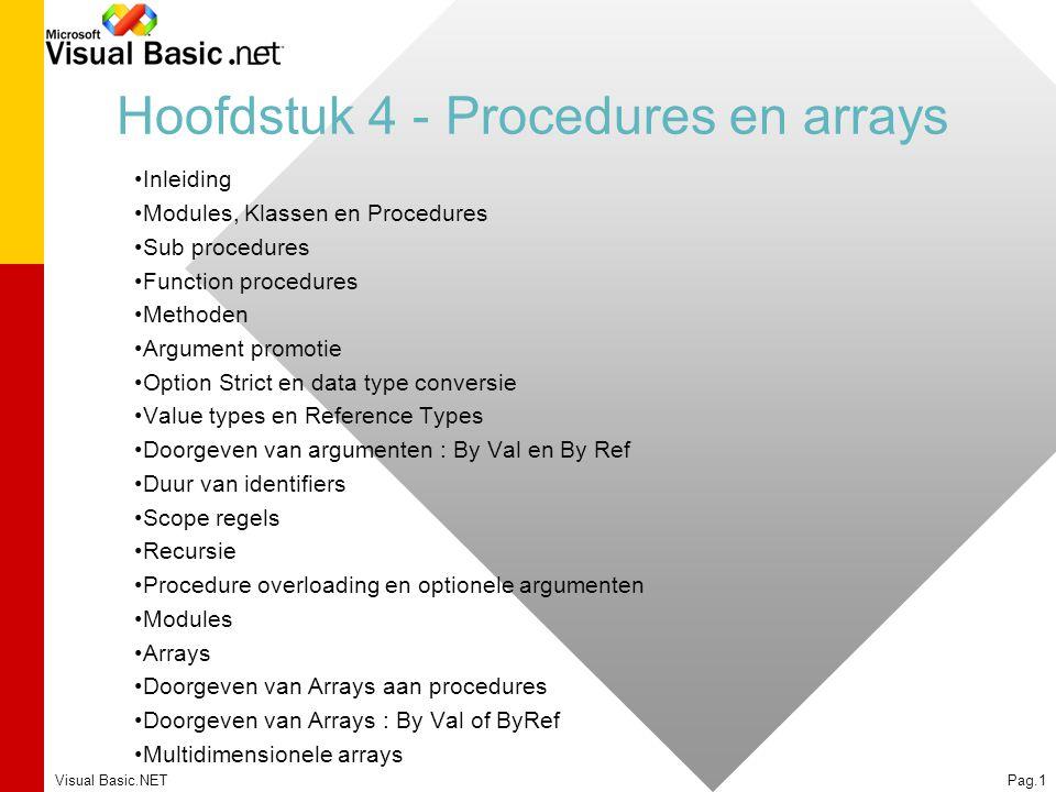 Hoofdstuk 4 - Procedures en arrays