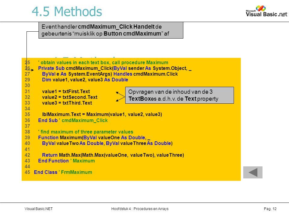 4.5 Methods Event handler cmdMaximum_Click Handelt de gebeurtenis muisklik op Button cmdMaximum af.