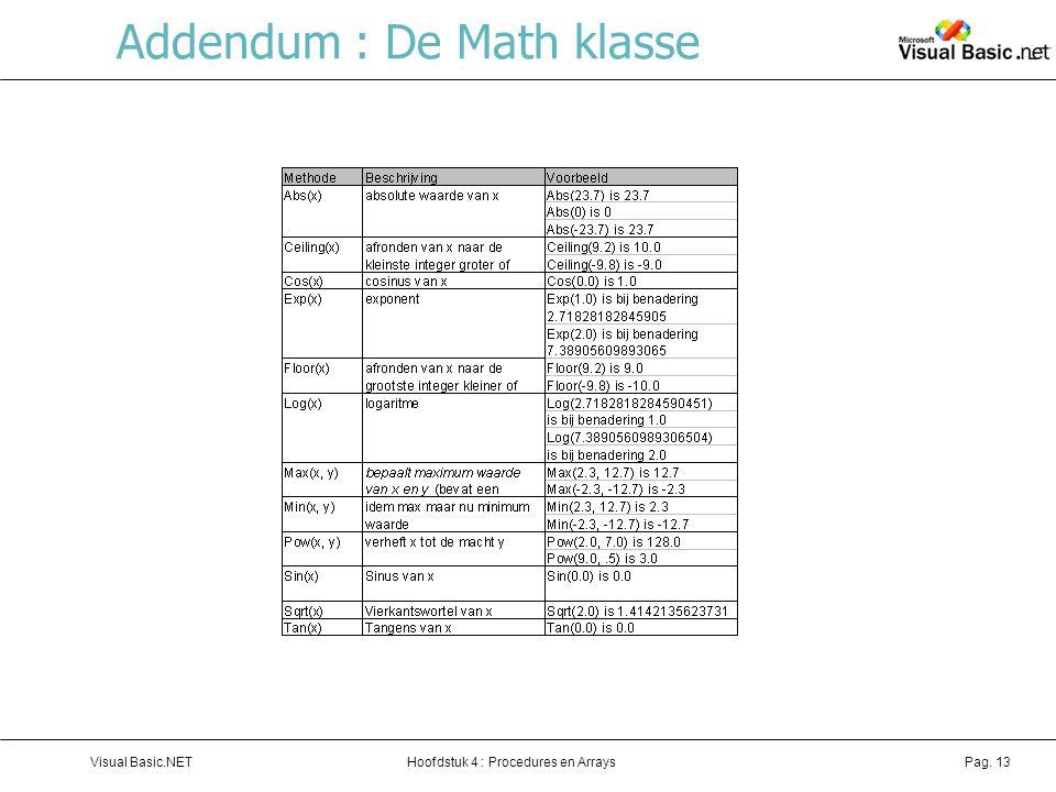 Addendum : De Math klasse