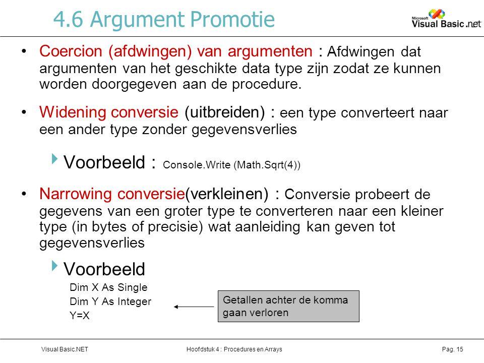 4.6 Argument Promotie Voorbeeld : Console.Write (Math.Sqrt(4))