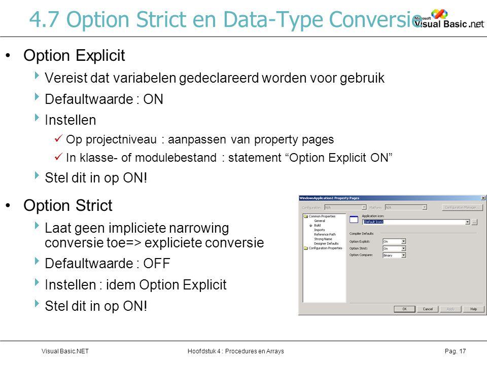 4.7 Option Strict en Data-Type Conversie