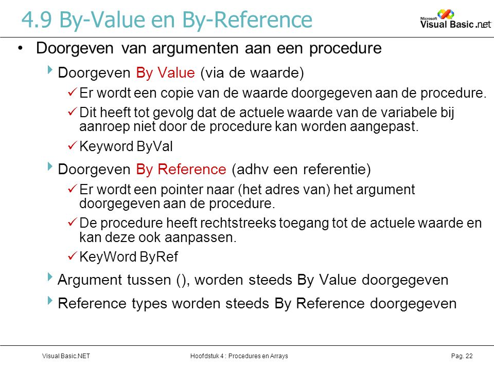 4.9 By-Value en By-Reference