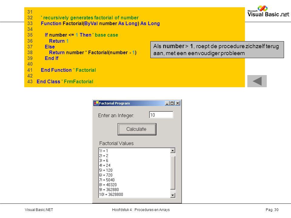 31 32 recursively generates factorial of number. 33 Function Factorial(ByVal number As Long) As Long.