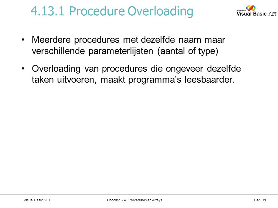 4.13.1 Procedure Overloading