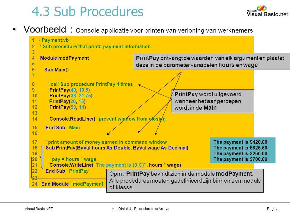4.3 Sub Procedures Voorbeeld : Console applicatie voor printen van verloning van werknemers. 1 ' Payment.vb.