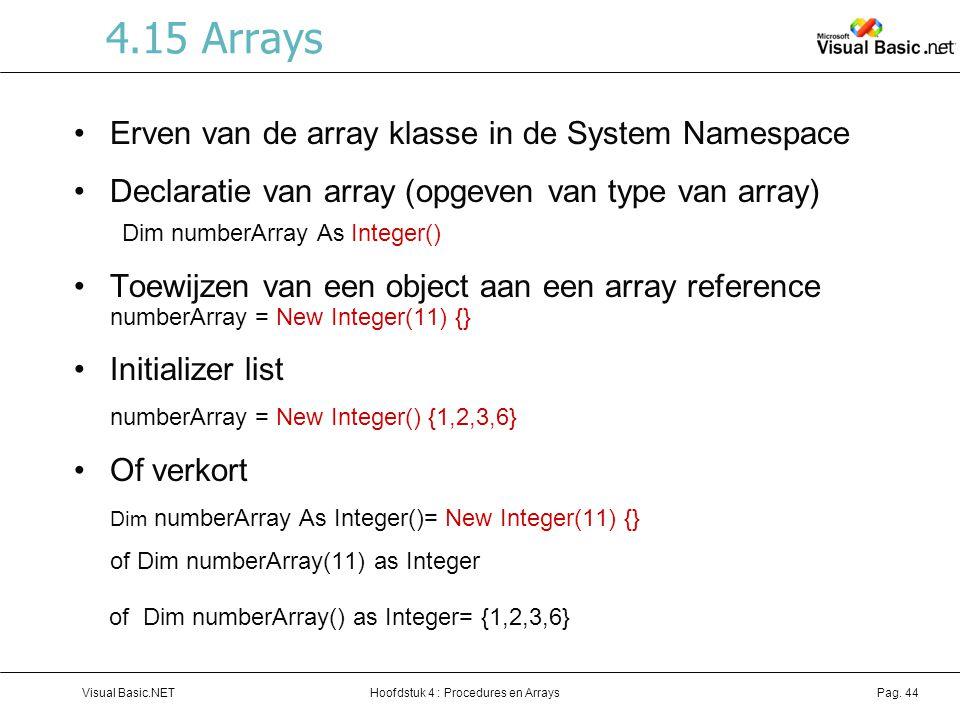 4.15 Arrays Erven van de array klasse in de System Namespace
