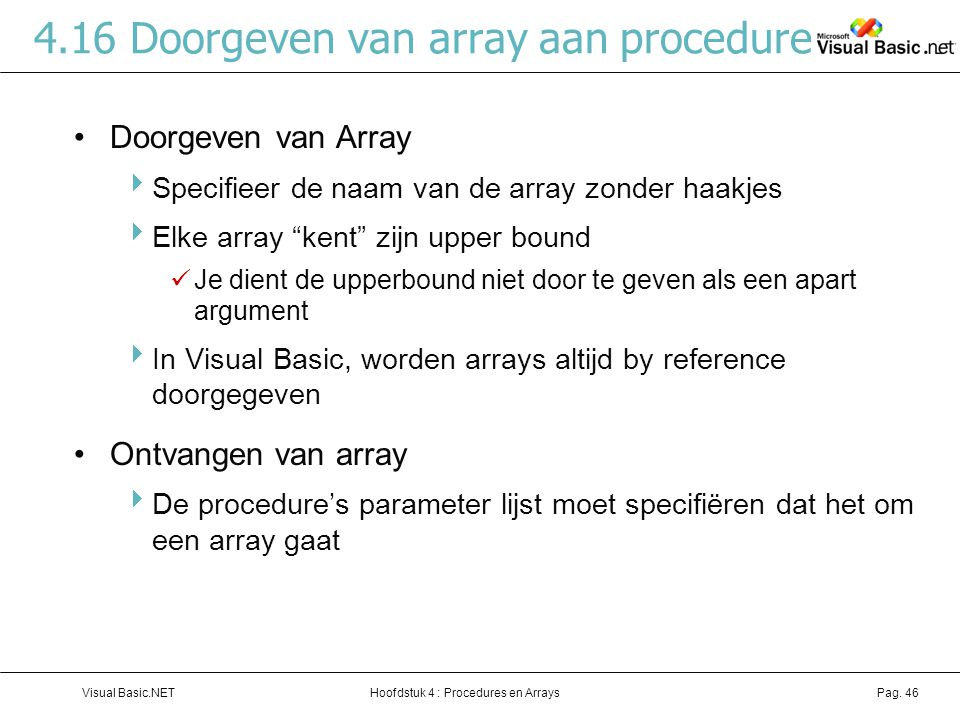 4.16 Doorgeven van array aan procedure