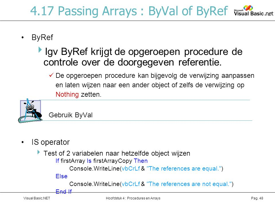 4.17 Passing Arrays : ByVal of ByRef