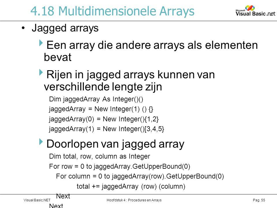 4.18 Multidimensionele Arrays