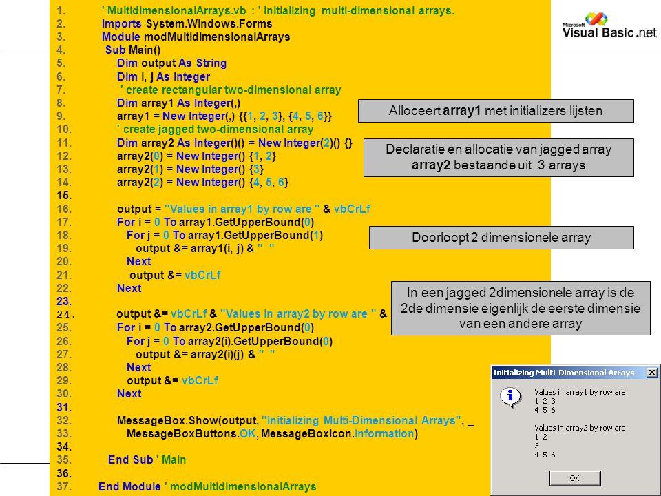 Alloceert array1 met initializers lijsten