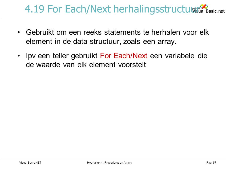 4.19 For Each/Next herhalingsstructuur