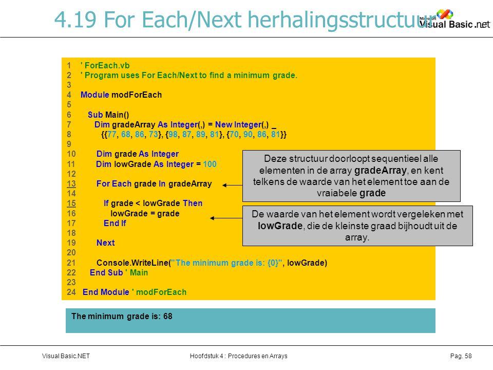 4.19 For Each/Next herhalingsstructuur