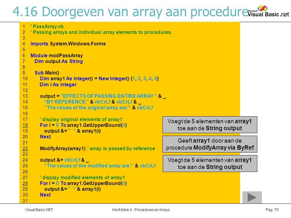 4.16 Doorgeven van array aan procedure