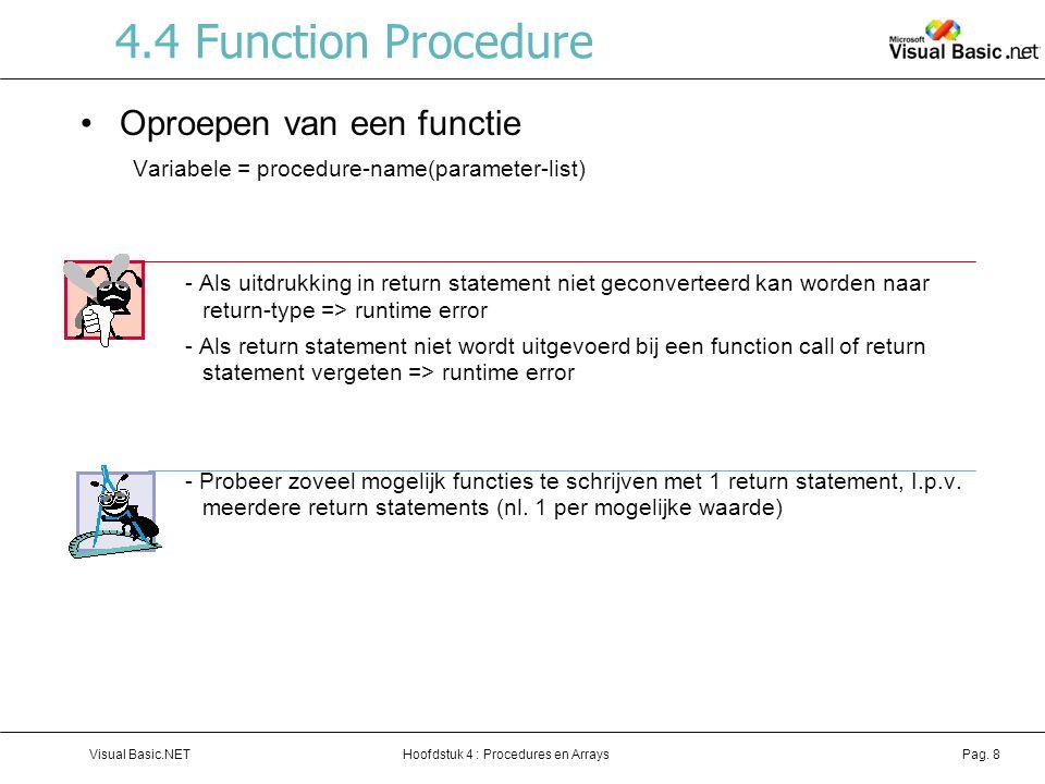 4.4 Function Procedure Oproepen van een functie