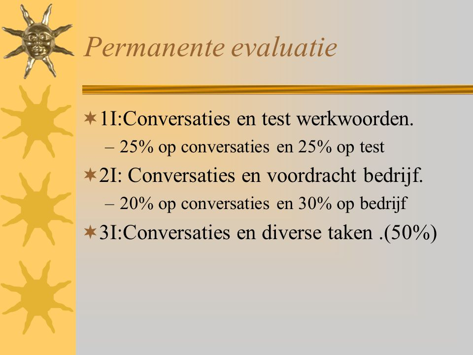 Permanente evaluatie 1I:Conversaties en test werkwoorden.