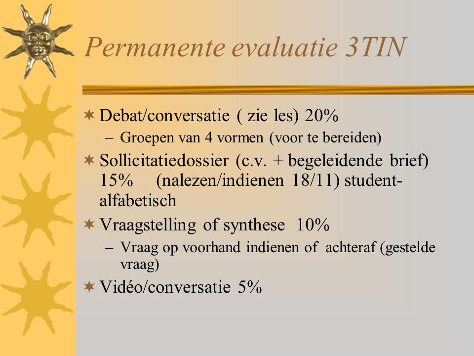 Permanente evaluatie 3TIN