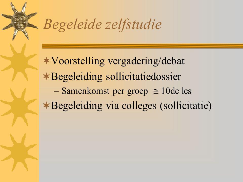 Begeleide zelfstudie Voorstelling vergadering/debat