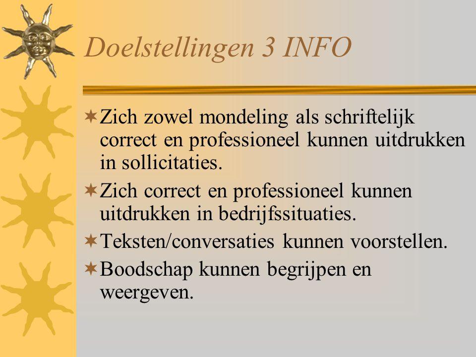 Doelstellingen 3 INFO Zich zowel mondeling als schriftelijk correct en professioneel kunnen uitdrukken in sollicitaties.
