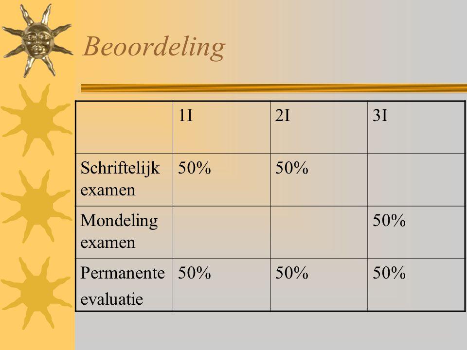 Beoordeling 1I 2I 3I Schriftelijk examen 50% Mondeling examen