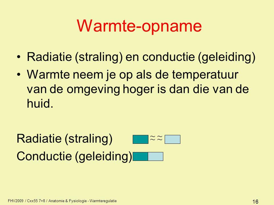 Warmte-opname Radiatie (straling) en conductie (geleiding)