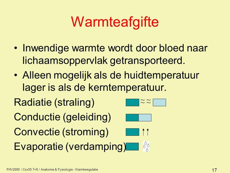 Warmteafgifte Inwendige warmte wordt door bloed naar lichaamsoppervlak getransporteerd.
