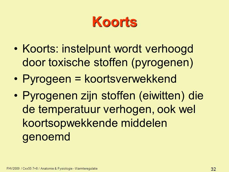 Koorts Koorts: instelpunt wordt verhoogd door toxische stoffen (pyrogenen) Pyrogeen = koortsverwekkend.
